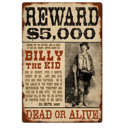 Enseigne western metal Billy the Kid HD 590150