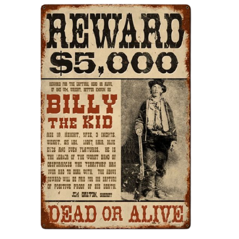 Plaque metal Billy the Kid