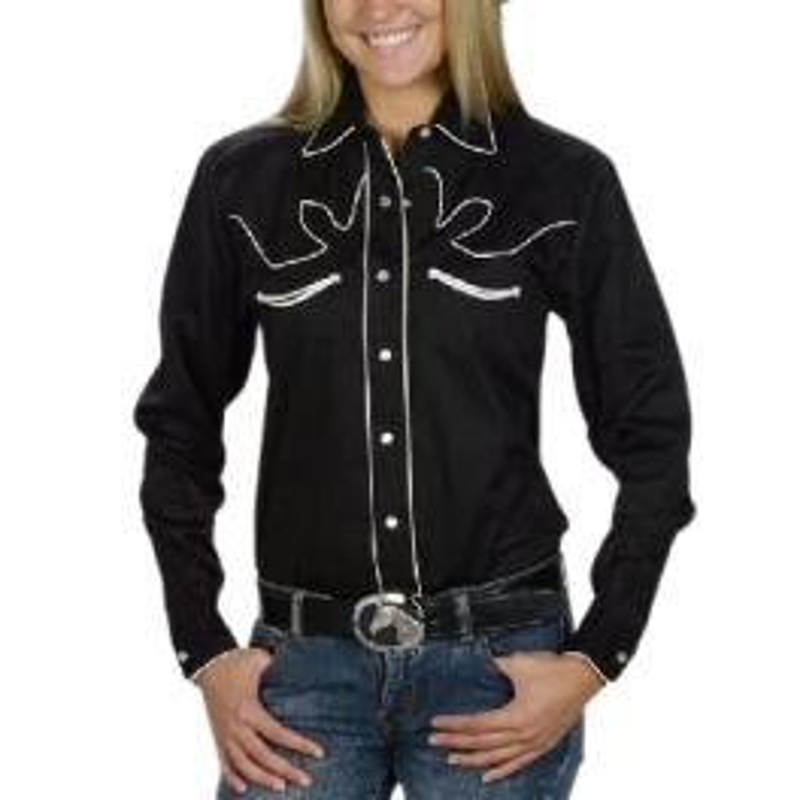 Chemise western de show femmes retro noire WX 780