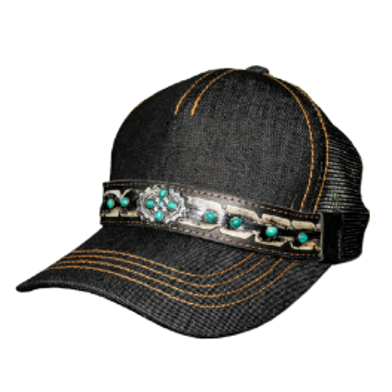Casquette denim noir et turquoise SS CP02