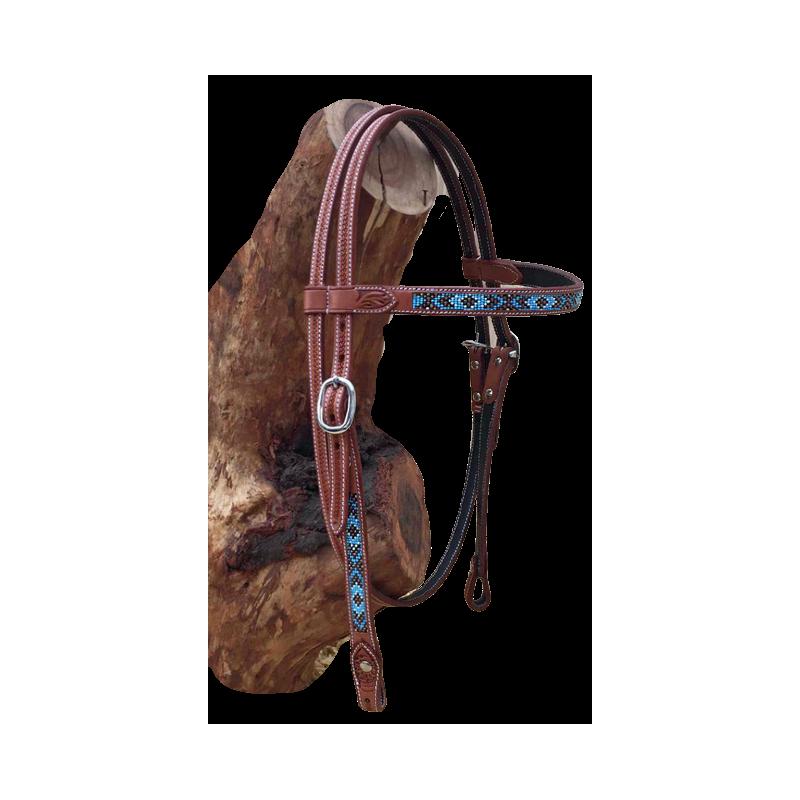 Bridon cuir perles turquoise GVR 3324