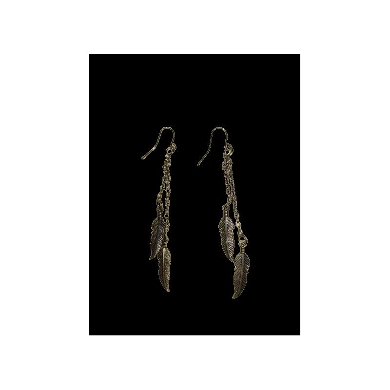 Boucles d'oreilles double plumes AEC LIZ03