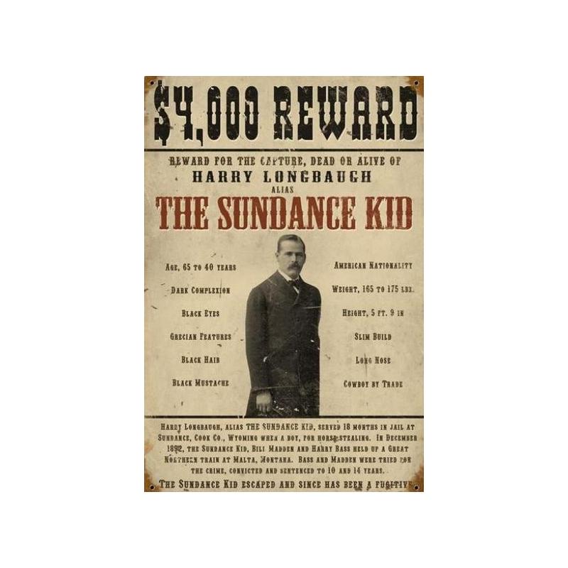 Enseigne western metal Sundance Kid HD 590152